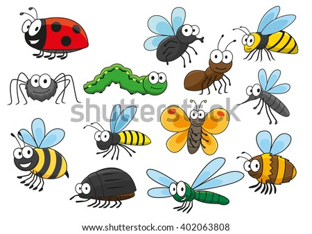 cartoon bee and bug  butterfly