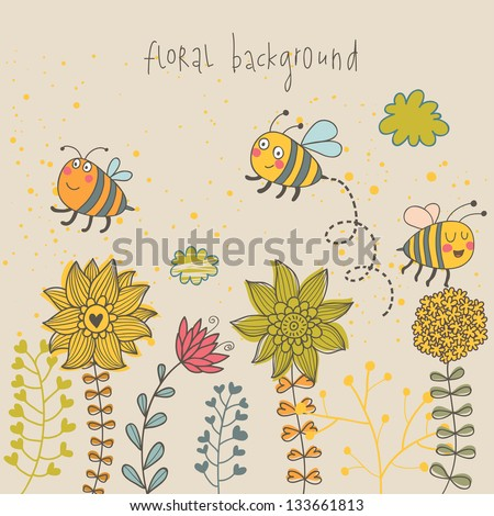 Cartoon bee and flowers. Spring concept card. Summer floral background in vector