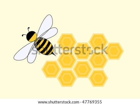 Cartoon bee in honeycomb, vector illustration - stock vector