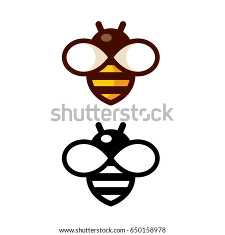 Cartoon bee logo design in color and black and white. Simple and cute outline icon.