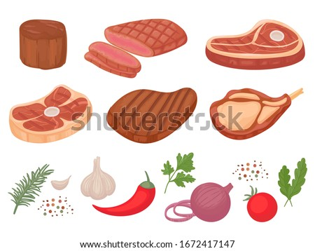 Cartoon beef steaks. Grilled steak, beef meats and filet mignon. Pepper and spices, garlic, onion and tomatoes vector illustration set. Steak and herb ingredient, food for barbecue, tomato and meat
