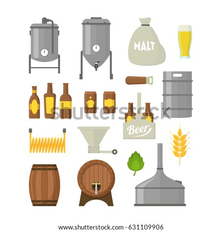 Cartoon Beer Brewing Color Icons Set Isolated on a White Background. Alcohol Beverage Process and Production. Vector illustration