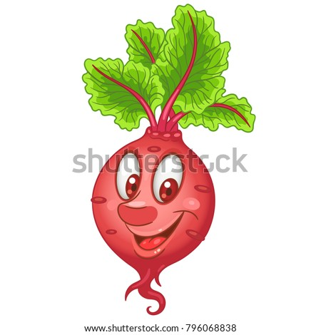 Cartoon Beet character. Beetroot root crop. Happy Vegetable symbol. Eco Food icon. Emoji expression. Design element for kids coloring book, colouring page, t-shirt print, logo, label, patch, sticker.