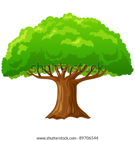 Tree Cartoon Background Cartoon Big Green Tree