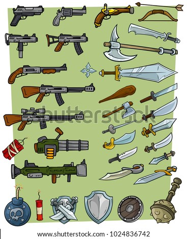 cartoon big weapons and