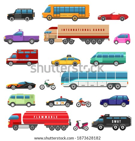 Cartoon bikes trucks and public transport. Van and motorcycle, taxi and electric hybrid car city vehicles side view transportations collection vector illustration Foto stock ©