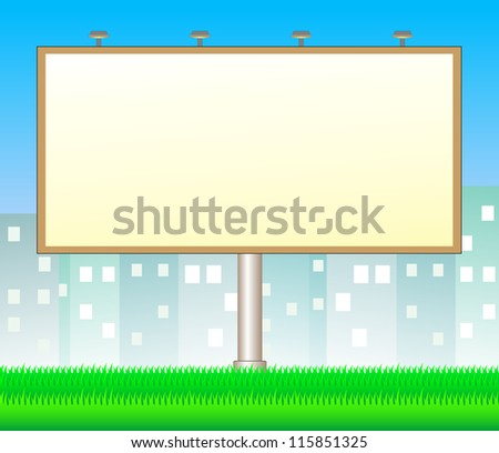 cartoon billboard on city background with space for text