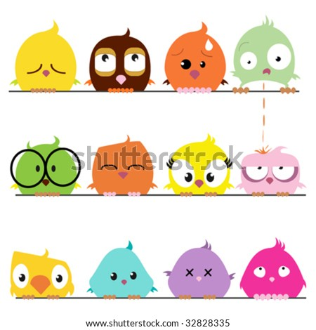 Cartoon Birds Pictures on Cartoon Bird Set Stock Vector 32828335   Shutterstock
