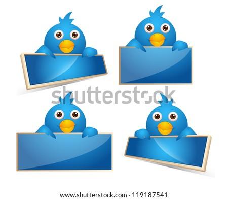 Cartoon Birds Icons - stock vector