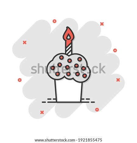 Cartoon birthday cake icon in comic style. Fresh pie muffin sign illustration pictogram. Cupcake business concept. Foto stock ©