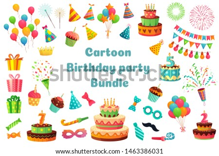 Cartoon birthday party bundle. Sweet celebration cupcakes, colorful balloons and birthday gifts. Delicious dessert cakes, princess carnival items. Isolated vector illustration signs set