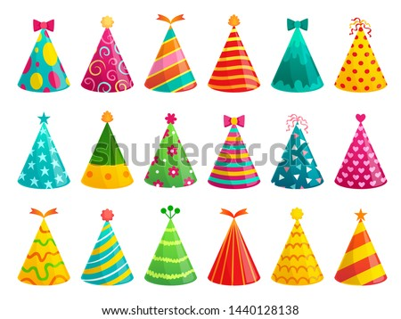 Cartoon birthday party caps. Funny celebration cap, holiday cone and colorful paper hat. Party hat, carnival caps or xmas cardboard accessories. Isolated vector illustration signs set