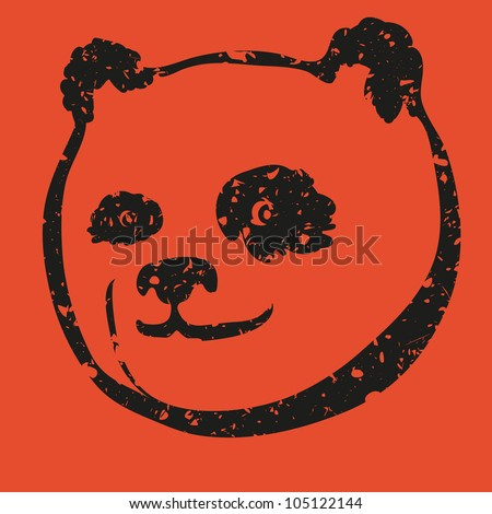 Cartoon black and red panda bear face silhouette with grunge effect, vector illustration