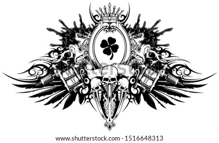 Cartoon black and white emblem emblem with tattoo machines wings and skulls