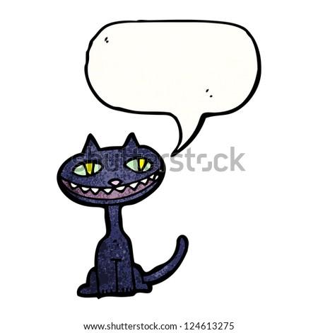 cartoon black cat - stock vector