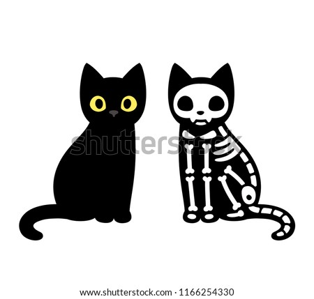Cartoon black cat drawing with skeleton, cute Schrodinger's cat illustration. Funny Halloween clip art design.