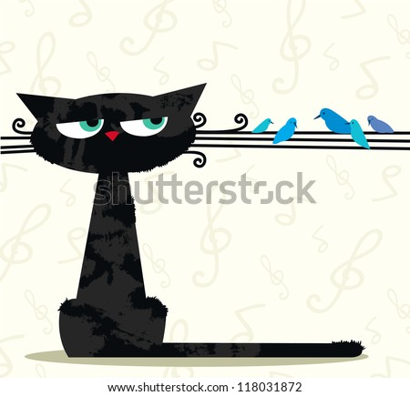 cartoon black funny cat looking