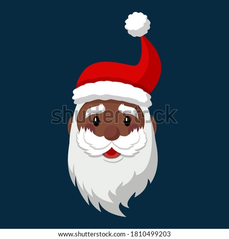 Cartoon Black Santa Claus character in vector. face isolated, hat, and beard. Hipster Santa. Secret santa. Happy New Year and Christmas collection