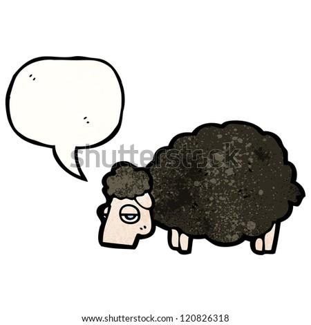 cartoon black sheep with speech bubble