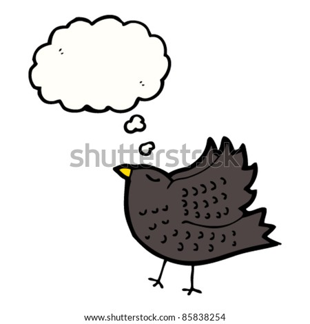 cartoon blackbird with thought bubble