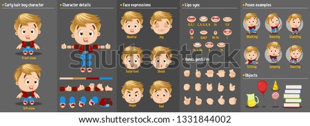 Cartoon blond boy constructor for animation. Parts of body: legs, arms, face emotions, hands gestures, lips sync. Full length, front, three quarter view. Set of ready to use poses, objects.