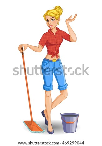 cartoon blonde girl with mop