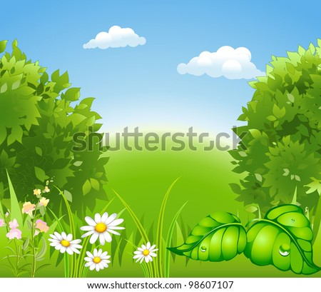 cartoon blossoming nature with a green tree and grass