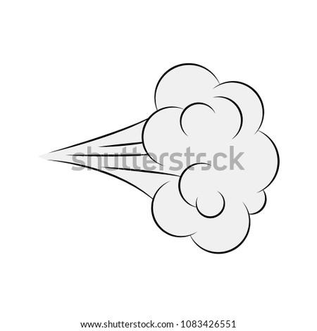 Cartoon blow, comic smoke isolated on white background Foto stock ©