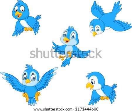 Cartoon blue bird collection set #1171444600