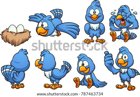 Cartoon blue bird in different positions. Vector clip art illustration with simple gradients. Some elements on separate layers.