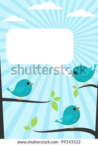 cartoon blue bird talking to