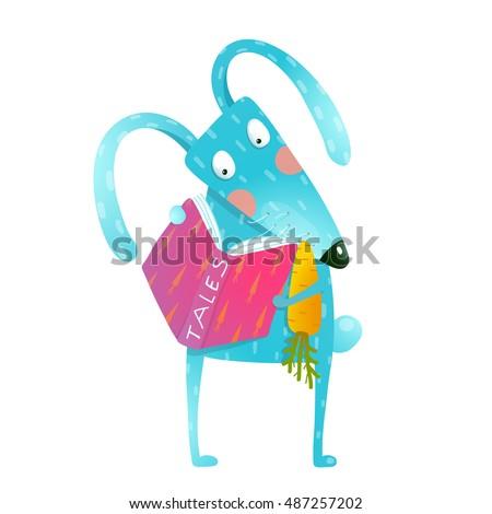 cartoon blue bunny reading book ...