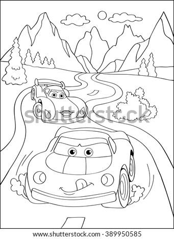 cartoon blue car sticker for