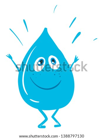 cartoon blue colored water drop