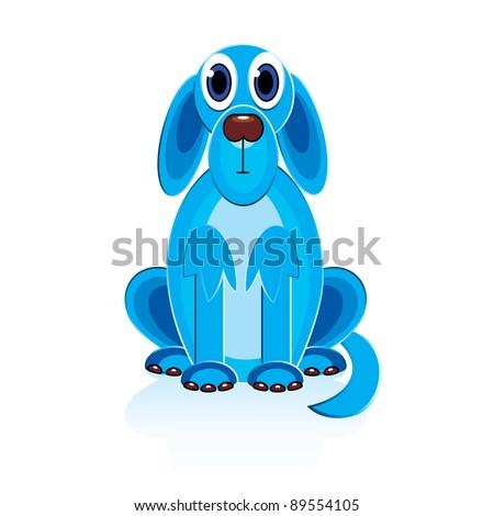 Cartoon Blue Dog. Illustration on white background for design