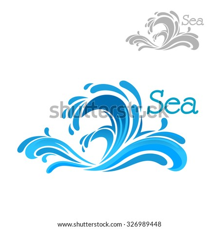 cartoon blue sea wave splash on