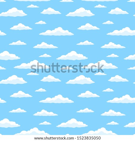 Cartoon blue sky wish clouds. Seamless pattern. Texture for fabric, wrapping, wallpaper. Decorative print.