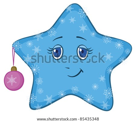 Cartoon, blue smiley star with holiday Christmas ball and snowflakes, vector
