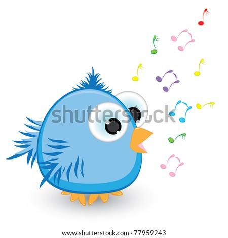 Cartoon blue sparrow singing. Illustration on white background