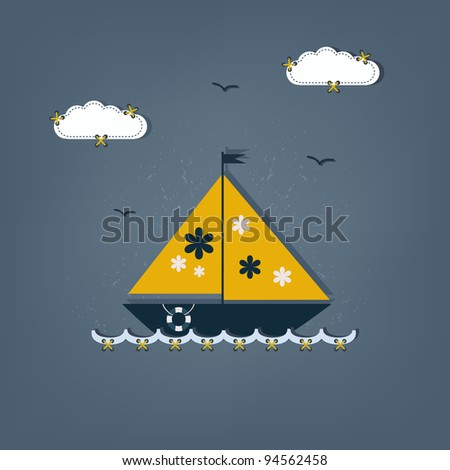 cartoon boat - scrap elements - stock vector