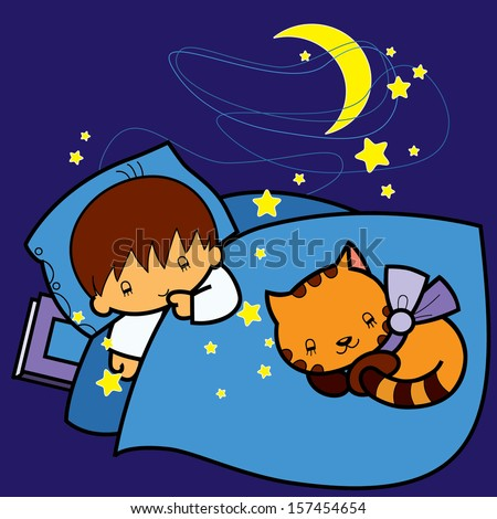 cartoon boy and cat sleeping in bed at night Stock photo ©