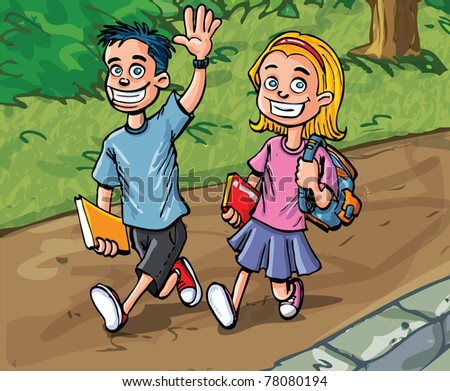 Cartoon boy and girl going to school. Path and woods behind