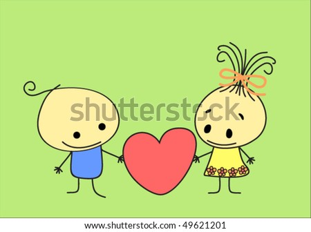 Cartoon Girl And Boy Love. stock vector : cartoon boy and