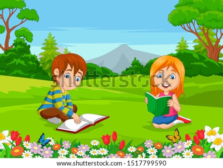 cartoon boy and girl reading