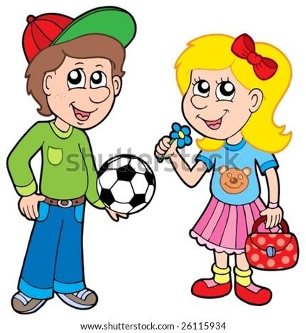 Cartoon boy and girl - vector illustration. - stock vector