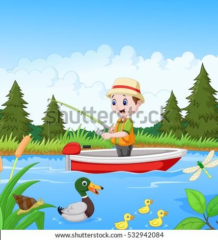 cartoon boy fishing on a boat