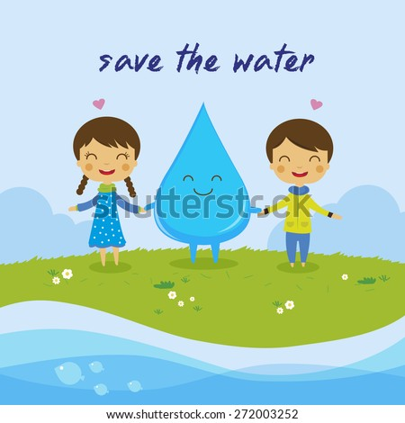 cartoon boy girl love water
