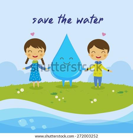 cartoon boy girl love water