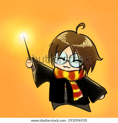cartoon boy in wizard costume