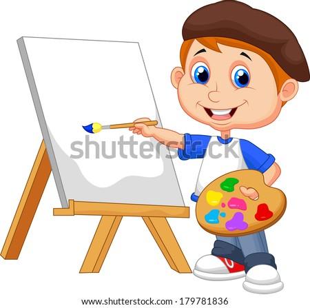 Cartoon Boy Painting Ez Canvas